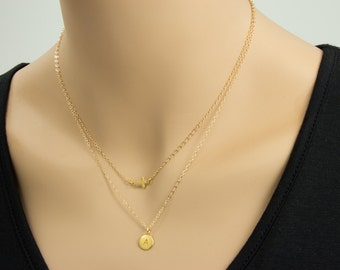 Small Sideways Cross with 24K Gold Initial  Necklace,  Double Chain Necklace, Personalized Necklace,  Name, Gold Necklace, Circle Disc Charm