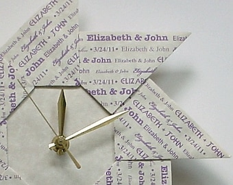 One Year Wedding Anniversary Gift for Her - Origami Clock - With Lavender Type - Large