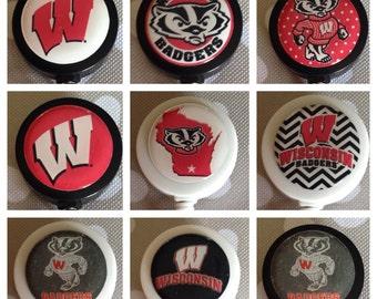 University of Wisconsin Badgers ID Badge Name Tag Holder Retractable Reel Perfect For Nurse, RN, CNA, Teacher, Billard Player, Sports