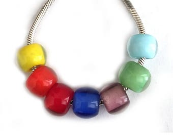 Glass Mini Add On Beads for Little Girl Jewelry 7mm x 9mm