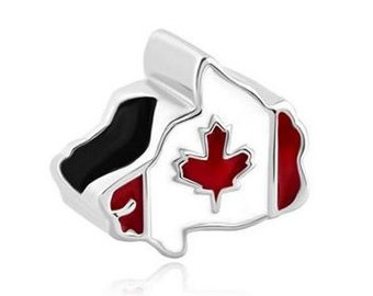 Canada Bead, Canada Charm, Large Hole Bead, European Bead, Charm Bead, Charm Bracelet, European Charm, Big Hole Bead, Red, White