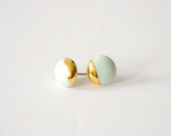 22k Gold Dipped Studs - Mint Stud Earrings, Easter Jewelry, Porcelain Jewelry - 14k gold filled posts, Sensitive Ears