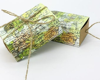 """100Pcs """"Around the World"""" Map Favor Box for traveling theme wedding decoration gift box and Kraft box Party favor candy box"""