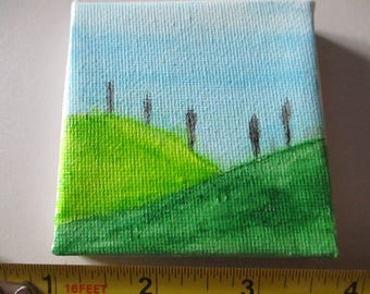 Green Hills and Trees on Canvas