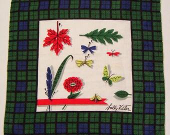 Vintage Designer Sally Victor Floral Hankie
