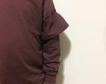 Sleeve Ruffle Sweater || Purple