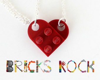 Dark Red Heart Necklace - Jewelry made with LEGO® pieces