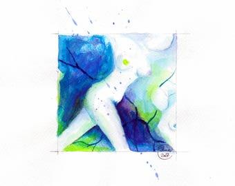 Blue Nude 07-nude-Watercolour-drawing-Aktgemälde-nude art-nude painting-Unique