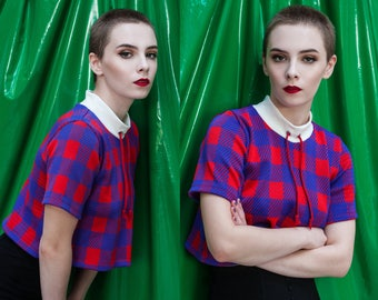 Limited Edition Gingham Plaid Sporty Blue & Red Cropped Tee M L