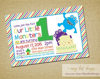 First Birthday Monster Invitation for Twins