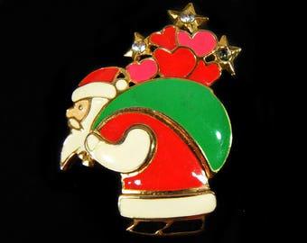 Vintage 70's Santa Brooch Pin Christmas Jewelry