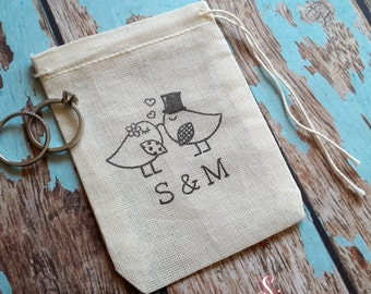 Personalised wedding birds ring bag. Ring pillow alternative, ring bearer accessory, ring warming ceremony.