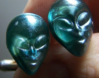 X-Files Alien Face Glass Cufflinks- Handmade Lampwork Glass SRA - Clearance Sale