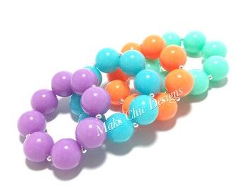 Toddler or Girls Solid Neon Chunky bracelets - Neon Purple, Neon Orange, Neon Teal, Neon Aqua Bracelets - 80s theme - Mermaid Bracelet
