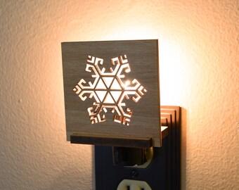 Winter Snowflake Interchangeable LED Night Light Plug In. Christmas Nightlight.