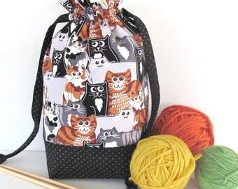 Knitting Bag Medium Drawstring Bag, Project bag for crochet,  Knitting Tote Bag - Bag of Cats