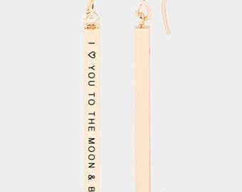 I love you to the moon and back steinless bar earring