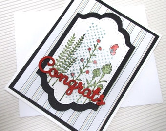 Congratulations wedding graduation card handmade stamped embellished elegant flower stationery wedding bridesmaid
