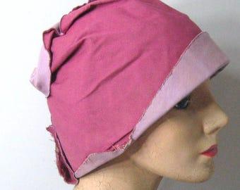 Antique 1920's Vintage Cloche Hat Original, Unfinished Millinery Project Rose Pink & Lavender Cotton, Lined Hat, Roaring 1920's Flapper Hat