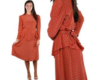 1980s dress with peplum, Vicky Vaughn dress, red paisley dress, Secretary dress, Size M