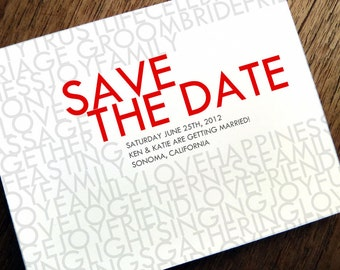 Printable Save the Date Card - Save the Date Template - Instant Download - Save the Date PDF - Modern Typography Save the Date - Red & Gray