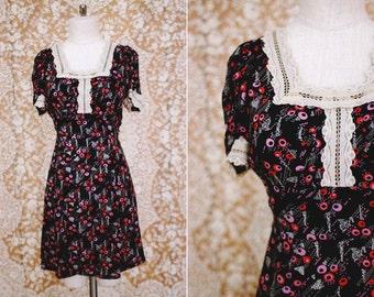 bleu marine Vintage 1970 dot babydoll impression robe avec dentelle garniture / taille s