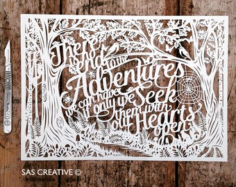 Papercut Template 'There is no end to the Adventures we can have' PDF JPEG for handcutting & SVG file for Silhouette Cameo or Cricut