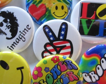 "500 Pin Pack GROOVY BUTTONS-Colorful Hippie Peace & Love Pins 24 Pack 1.25"" Quality Pin-Back Badges"