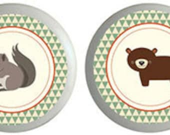 Forest Friends Deer Squirrel Bear Fox Ceramic Knobs for Cabinets, Drawers Set of 4