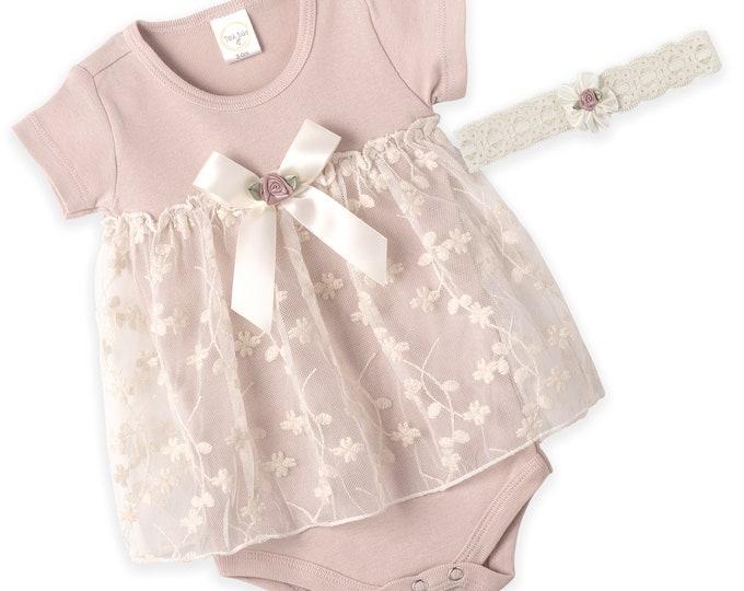 Baby Girl Lace Dress, Newborn Pink Lace Dress, Infant Girl Pink Lace Dress, Baby Girl Lace Skirted Romper, Lace Headband Tesa Babe