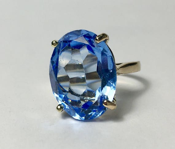 Beautiful 10k Vintage Aquamarine Ring. by Etsy