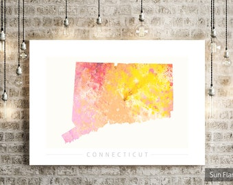 Connecticut  Map - State Map of Connecticut - Art Print Watercolor Illustration Wall Art Home Decor Gift - NATURE PRINT