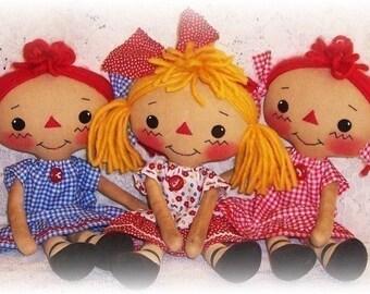 Small Rag Doll Pattern, Cloth Doll Pattern, PDF sewing Pattern, ePattern, Softie Pattern, primitive raggedy ann doll, annie pattern