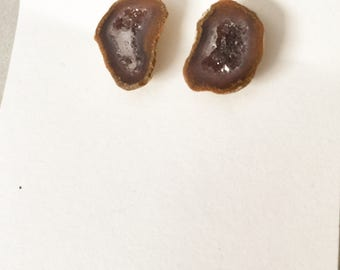 Chocolate Brown Druzy Geode Studs on Nickel Free Posts