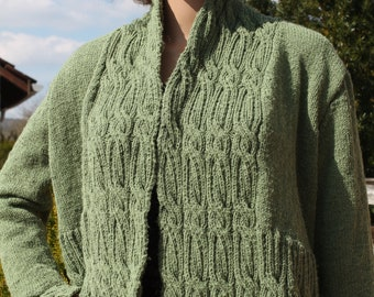 hand knitted jacket, cardigan, short, green,