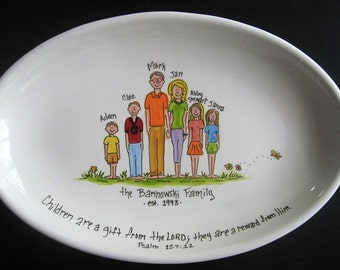 Handpainted 13 Inch Oval Family Platter - Personalized - Great Gift for mom, grandma or housewarming gift