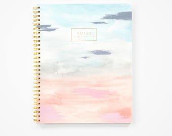 Spiral Notebook, Large Notebook, Gold Notebook