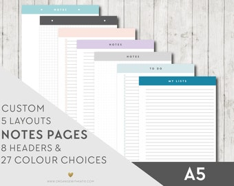 A5 Printable Notes and To Do Pages - A5 - Inserts Filofax Printable Planner Pages, Notes, Lists, Grid, Dot