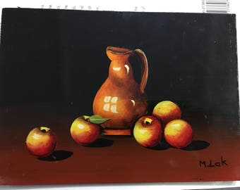 Still Life Original Oil On wood Board by M. Lak, Maria Lak Washington State listed Artist since 1970's