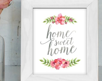 Printable Home Sweet Home // Pink Floral Print // Home Apartment Nursery Dorm Wall Decor // Instant Downloadable Printable Art