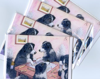 Border Collie dog greeting cards x 4 - Scrabble tiles letters words sheepdogs playing a board game from a Susan Alison watercolor painting