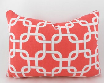 Lumbar Pillow Cover ANY SIZE Decorative Pillows Coral Pillow Premier Prints Gotcha Coral