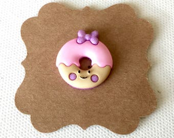 Kawaii Donut Pin, Smiley Donut Pin, Pink Donut Pin, Donut Brooch, Chibi, Tiny Food, Dessert, Tie Clip, Mini Food
