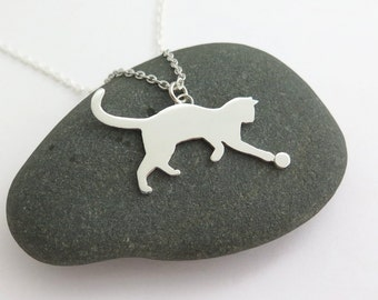 Cat Necklace – Silver Cat Pendant Necklace - Cat Jewelry - Cat Lover Gift - Silver Cat Jewelry - Cat Lady Gift - Animal Lover Gift - Kitten
