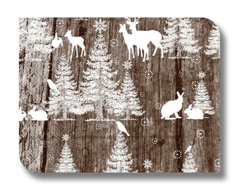 Woodland napkin for decoupage and other paper crafts x 1. Christmas crafts. No. 1185 Woodland scene