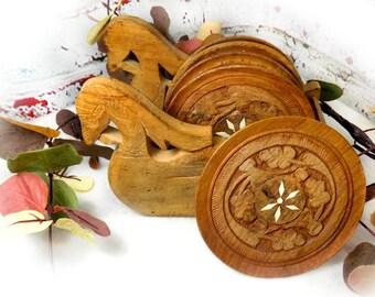 Carved Asian Wood Coaster Set - bird boat - Hand carved coaster set - vintage Drink Holders, Thai wood carving ,vintage drink coaster  -# 76