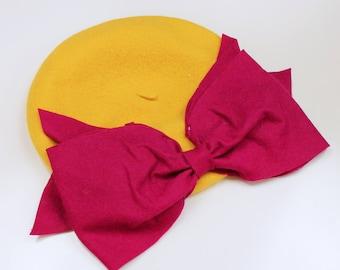 Bow Beret (Yellow & Magenta)