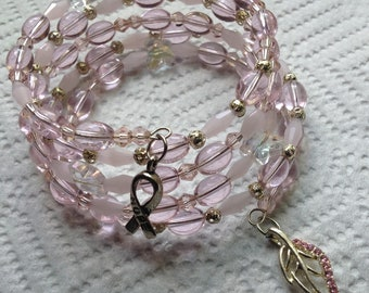 Breast Cancer Awareness Bracelet Wire Wrapped Memory Wire Beaded Bracelet Breast Cancer Support