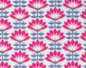 Joel Dewberry Fabric, Atrium, Deco Bloom, Fuchsia, Floral, cotton quilting fabric - YARD