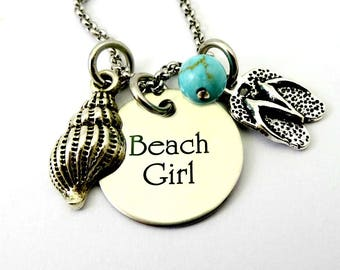 Beach Girl Bangle Necklace  - I'm A Toes In the Sand Kind of Girl Jewelry Collection - Engraved